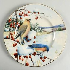 Lenox Winter Greetings Cedar Waxwing and Bluebird Scenic Accent Luncheon Plate