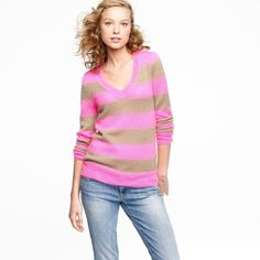 """J.Crew Pink & Camel Stripe V-Neck Sweater Mint as new condition. This pink and camel c- neck stripe sweater from JCrew features a v-neckline with buttons at the neckline shoulder area. Made of a mohair blend. Measures: Bust: 34"""", Total Length: 25"""", Sleeves: 24"""" J. Crew Sweaters V-Necks"""