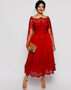 Cheap Plus Size Red Dresses With Long Sleeve