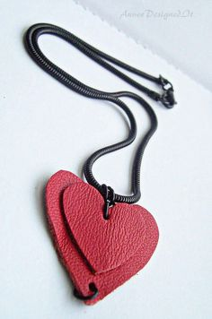 Leather Hearts , Gift For Her , Red Leather Hearts , Romantic Gift Valentine Day Gifts, Valentines, Pretty Necklaces, Leather Necklace, Saddle Bags, Red Leather, Gifts For Her, Chain, Pendant
