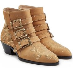 Chloé Studded Susanna Ankle Boots (126115 RSD) ❤ liked on Polyvore featuring shoes, boots, ankle booties, camel, chunky booties, leather booties, chunky ankle boots, chloe booties and round toe ankle boots