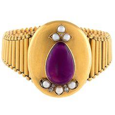 Victorian Amethyst Pearl Diamond Gold Locket/Bracelet   From a unique collection of vintage more bracelets at https://www.1stdibs.com/jewelry/bracelets/more-bracelets/