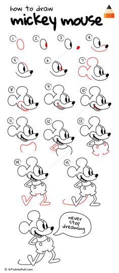 45 Ideas For Drawing Doodles Disney Mickey Mouse Easy Chalk Drawings, Easy Disney Drawings, Cute Easy Drawings, Art Drawings For Kids, Doodle Drawings, Drawing For Kids, Cartoon Drawings, Drawing Disney, Disney Drawing Tutorial