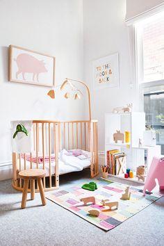 Minimal Bohemian Kid's room Bedrooms via Sycamore Street Press Baby Bedroom, Nursery Room, Girl Nursery, Girl Room, Kids Bedroom, Pastel Nursery, Bright Nursery, Bedroom Ideas, Nursery Ideas