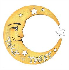 A grinning crescent moon trick or treat sign made from wood. Display in a covered front porch to greet your trick or treaters. Halloween Wall Decor. Painted woo