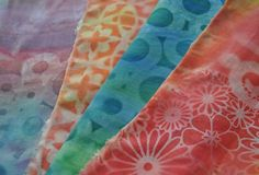 sun printing on fabric for a faux batik affect. Order at Pro Chemical & Dye, ord… sun printing on fabric for a faux batik affect. Order at Pro Chemical & Dye, ordering PFD fabric and five colors of Setacolor paints:… Continue Reading → Sun Painting, Fabric Painting, Fabric Art, Fabric Crafts, Fabric Design, Paint Fabric, Quilting Fabric, Textile Prints, Textile Art