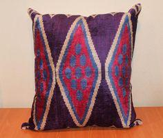 Ikat Pillows  Decorative Sofa Pillows Silk by TEXTILEGALLERY, $125.00