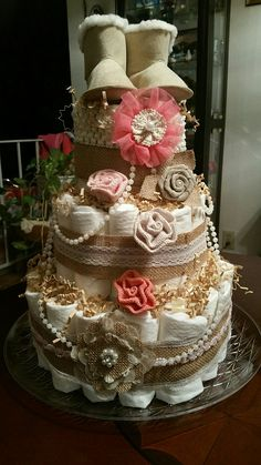 Shabby Chic Diaper Cake made by Darla Andres