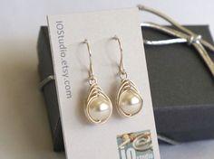 White Pearl Sterling Silver Earings, Herringbone Pearl Earrings, Wire Wrapped…