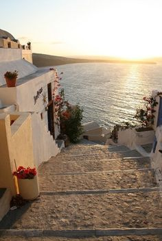 Steps to the Sea, Santorini, Greece.I want to go to Santorini. Places Around The World, Oh The Places You'll Go, Places To Travel, Places To Visit, Around The Worlds, Travel Destinations, Dream Vacations, Vacation Spots, Beautiful World