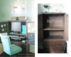 before and after computer hutch armoire turned computer cabinet