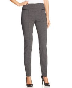 Style&co. Skinny-Leg Checked Pull-On Pants