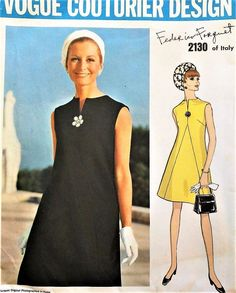 1960s ELEGANT Mod Federico Forquet Dress Pattern VOGUE Couturier Design 2130 Cocktail or Day Dress Bust 38 Vintage Sewing Pattern UNCUT