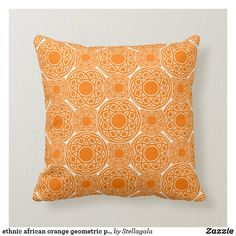 ethnic african orange geometric pattern throw pillow