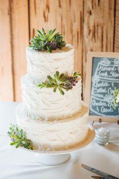 So simple and lovely! #weddingcake {Priscilla Thomas Photography; Cake:Wildflour Pastry}