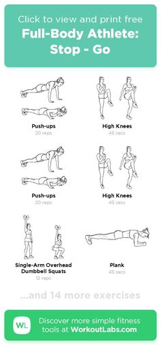 Free workout: Full-Body Athlete: Stop - Go – 17-min glutes, abs, chest, legs exercise routine. Try it now or download as a printable PDF! Browse more training plans and create your own exercise programs with #WorkoutLabsFit · #GlutesWorkout #AbsWorkout #ChestWorkout #LegsWorkout Don't need to go to the gym, just use your bodyweight and take a few minutes a day, 30 Day Weight Loss Challenge will greatly help to get a perfect bikini body! Leg Day Workouts, Easy Workouts, At Home Workouts, Perfect Bikini Body, Jogging In Place, Dumbbell Squat, Health App, Weight Loss Challenge, Training Plan