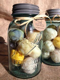 Genius way to use up soap scraps! Handmade Soap Balls in a Vintage Aqua Ball Mason Jar - Handmade All Natural Soap. Diy Savon, Green Label, Soap Display, Soap Shop, Ball Mason Jars, Homemade Soap Recipes, Tips & Tricks, Bath Soap, Homemade Beauty Products