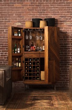 Cheverny Metal Inlay Bar Cabinet An ultimate entertainer and a stunning conversation piece. Armoire Bar, Bookcase Bar, Grey Bar Stools, Modern Home Bar, Cheverny, Home Bar Designs, Drinks Cabinet, Decoration Inspiration, Wine Storage