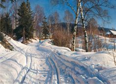 Peder Mørk Mønsted – private collection. Sunlit Winter Landscape (1919)