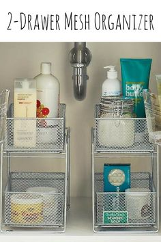 This 2-Drawer Mesh Organizer is perfect for keeping cleaning supplies tidy, food packets and boxes organized, and toiletries in order. The tight-weave silver mesh provides visibility of the contents while preventing small items from falling through. Great for use in upper or lower cabinets in the kitchen and bath, on a counter top and in the pantry. Each basket slides out completely so you can take it where you need it. #sponsored #organizer #storage #bathroom #pantry #home #kitchen