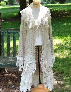 Upcycled Artsy Boho Romantic Long Sweater / by GlamourFashionista