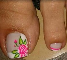 Pretty Toe Nails, Love Nails, My Nails, Cute Pedicure Designs, Toe Nail Designs, Floral Nail Art, Disney Nails, Manicure E Pedicure, Beautiful Nail Designs
