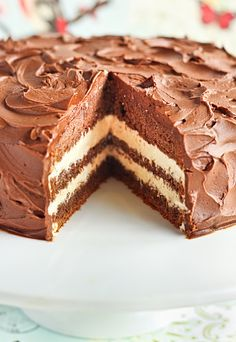 Chocolate malt cake with sweetened condensed milk filling and ganache