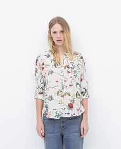 ZARA - WOMAN - PRINT TOP WITH UNEVEN HEM