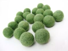 Felt Balls Green  20 Pure Wool Beads 20mm  by AnnyMayCraftSupplies, $6.85
