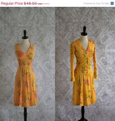 Vintage 1970s Dress 70s Yellow Floral by SassySisterVintage, $38.40