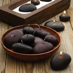 """River Rock Candles - these would be so cool as part of my decor for a """"nature"""" or """"garden"""" party. Candle Lanterns, Diy Candles, Candle Set, Candle Holders, Foto Transfer, Candlemaking, Dot And Bo, Diy And Crafts, Sweet Home"""