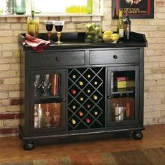 Howard Miller Cabernet Hills Wine Bar Wine Furniture at Hayneedle Wine Bar Cabinet, Wine Cabinets, Wine Hutch, Wooden Rack, Wood Wine Racks, Wine Furniture, Furniture Design, Furniture Ideas, Royal Furniture