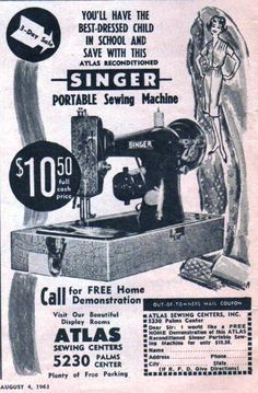 Olde Ad for a Reconditioned Singer Portable Machine. Vintage Advertisements, Vintage Ads, Vintage Prints, Sewing Cards, Leather Craft Tools, Antique Sewing Machines, Old Ads, Love Sewing, Singer Table