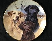 Dog Plate, Labrador, Three Labradors Dog Plate, Collectible Danbury Mint Dog Plate, Labrador Retrivers, Wild Things Plate, Jim Killen