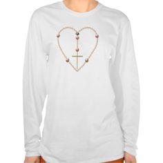 """Pearls"" #heart shaped #Rosary #Tshirts...#Catholic #Christian #religious #religion #clothing #forsale #RoseSantuciSofranko #Artist4God #ChristmasGifts #presents #designer #customizable #fashion #BlessedVirginMary"