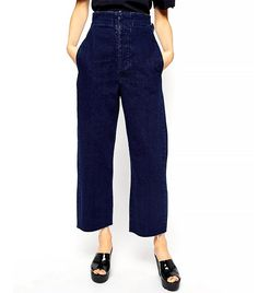 ASOS High Waist Wide Leg Jeans // cropped denim culottes