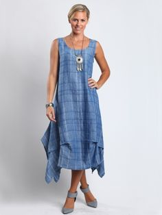 Plaid Aliyah Tucked Long Dress by Chalet
