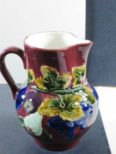 Pitcher Ceramic Art Pottery Ditmar Urbach Czechoslovakia Czech Raised Relief | eBay