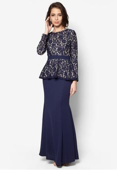 Hannah Lace Peplum Kurung from VERCATO in Blue Embody the modern, classic beauty in this stunning baju kurung by VERCATO. The lovely peplum design flatters while the lace overlay and subtle mermaid silhouette exude sophistication.  Top - Polyblend - Round neckline - Long sleeves - Back zip fa... #bajukurung #bajukurungmoden