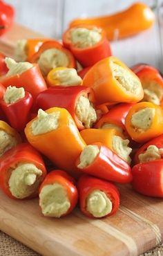 Homemade Basil Hummus stuffed mini bell peppers