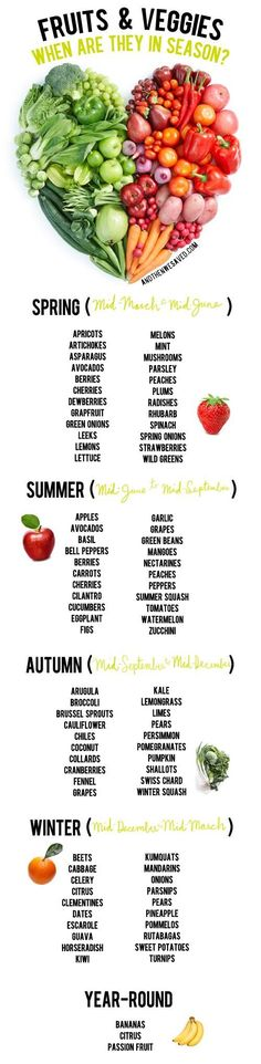 .~Unsure what fruits and vegetables are coming in and out of season? Never wonder again thanks to this handy guide~.