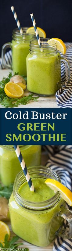 Cold Buster Green Smoothie - Packed with good for you ingredients to help fight off a cold. Hang on to this pin!