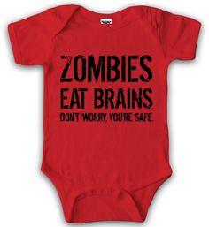 Crazy Dog TShirts - Baby Bodysuit Zombies Eat Brains Youre Safe Halloween Creeper for Infants - baby-Enfant -: Amazon.fr: Bébés & Puériculture