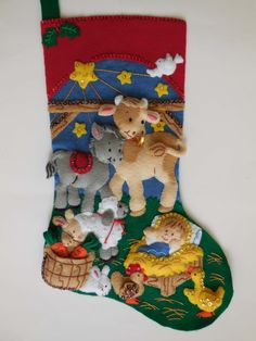 Finished Christmas Stocking  Away in a Manger por JoysofChristmas