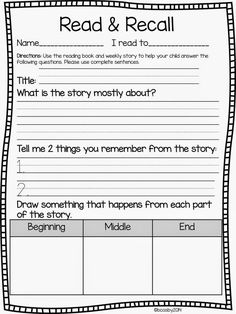 Read and Recall Freebie Update! #Classroomfreebies