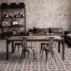 Dining Chairs, Dining Table, Italian Tiles, Germany And Italy, Tile Stores, Encaustic Tile, Porcelain Tile, Terrazzo, Vintage Industrial