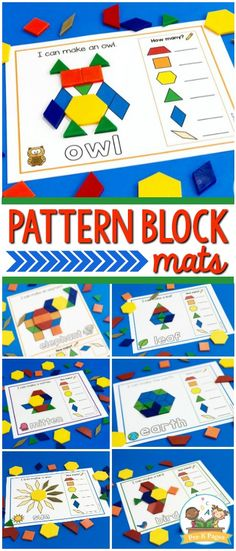 Printable Pattern Block Mats for Preschool. Pattern blocks are about so much more than fine motor skills! Geometry, counting, visual discrimination, writing and so much more are developed when using these pattern block mats! Free Preschool, Preschool Printables, Preschool Lessons, Preschool Learning, Kindergarten Classroom, Preschool Activities, Kindergarten Shapes, Dinosaurs Preschool, Petite Section