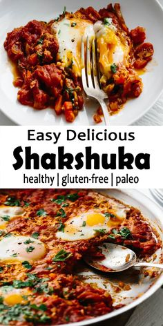 Shakshuka is an easy, Healthful breakfast in the Middle-East & North-Africa. It is a very simple mixture of simmering garlic, tomatoes, onions, spices and lightly poached eggs. It is healthy and full of nourishing. Health Breakfast, Breakfast Time, Healthy Breakfast Recipes, Healthy Dinner Recipes, Vegetarian Recipes, Cooking Recipes, Simple Healthy Recipes, Sin Gluten, Gluten Free
