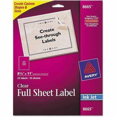 "$17.56 - .71 each - Avery Full-Sheet Injet Labels, 8-1/2"" x 11"", Clear, 25-Pack"