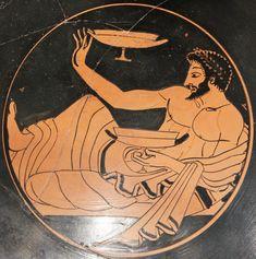 Giocatore di cottabo su un kylix; ca 500 a. C. ceramica dipinta a figure rosse.